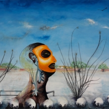 Aquí no nay agua, 2006, OIL AND PERMANENT MARKER ON CANVAS, 40 x 46 INCHES11