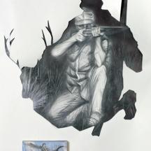 Minute Man, GRAPHITE ON STONEHENDGE, 40 x 60 INCHES graphite on Stonehenge