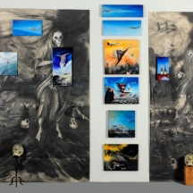 Bombs over Baghad 1, 2011, OIL PAINTING GRAPHITE DRAWINGS SKULLS AND ARTILLERY SHELL, 96 x 84 INCHES