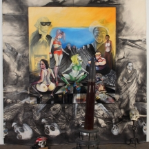 Bombs over Baghad 2, 2011, OIL PAINTING GRAPHITE DRAWINGS SKULLS AND ARTILLERY SHELL 96 x 112 INCHES
