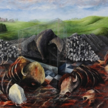 Se chingaron al búfalo, 1996, OIL ON CANVAS, 56 x 72 INCHES