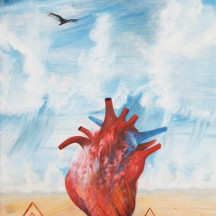 Corazon atormentado, 2012, OIL MIXED MEDIA ON CANVAS, 72 x 48 INCHES