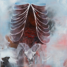 I am a ram, 2012, OIL AND AEROSOL ON CANVAS, 48 x 36 INCHES