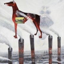 Mi perro Cody, 1995, OIL AND COLLAGE ON CANVAS, 53 x 43 INCHES